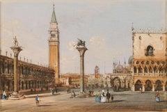 19th century Venetian painting - Carlo Grubacs - View Venice - Gouache paper