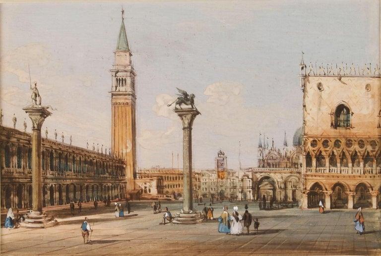 19th century Venetian painting - Carlo Grubacs - View Venice - Gouache paper - Painting by Carlo Grubacs
