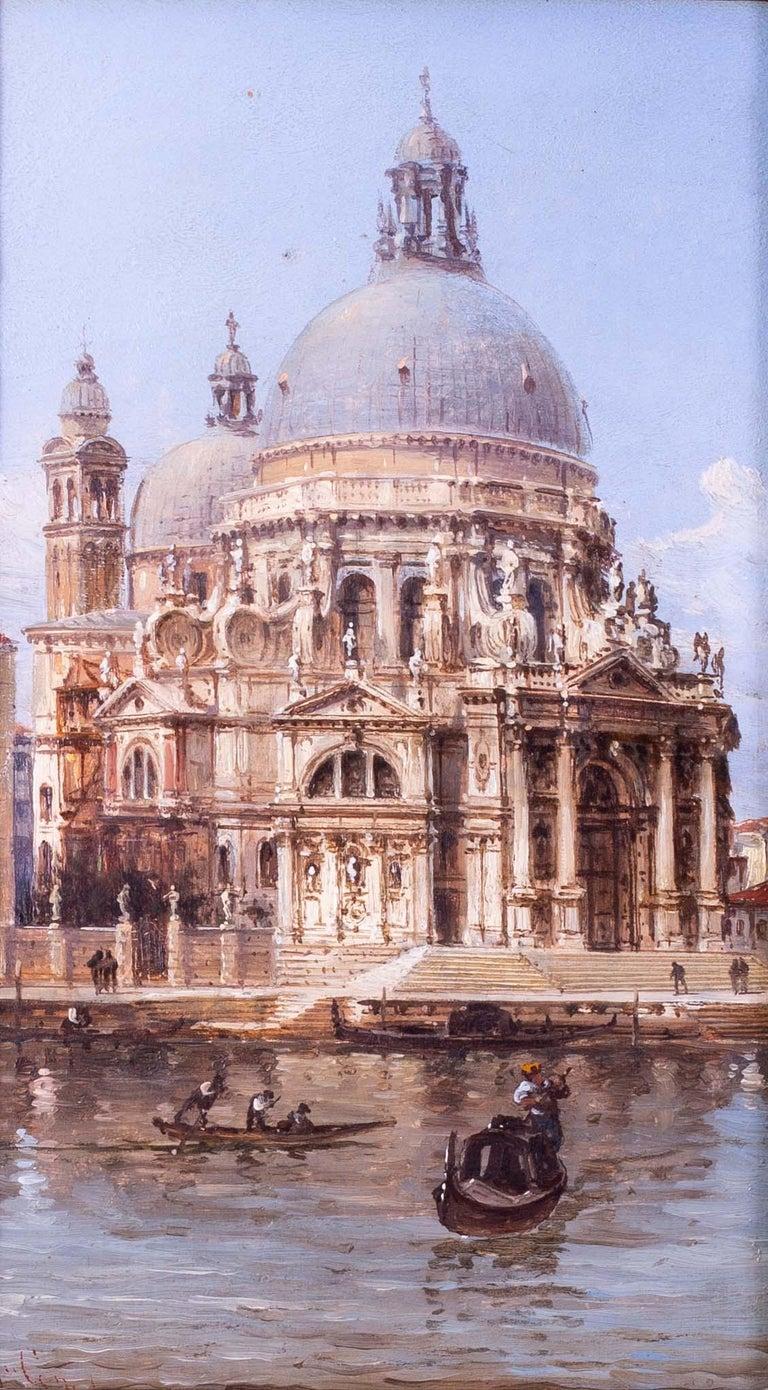 Carlo Grubacs 19th Century oil painting of Santa Maria della Salute, Venice - Brown Landscape Painting by Carlo Grubacs