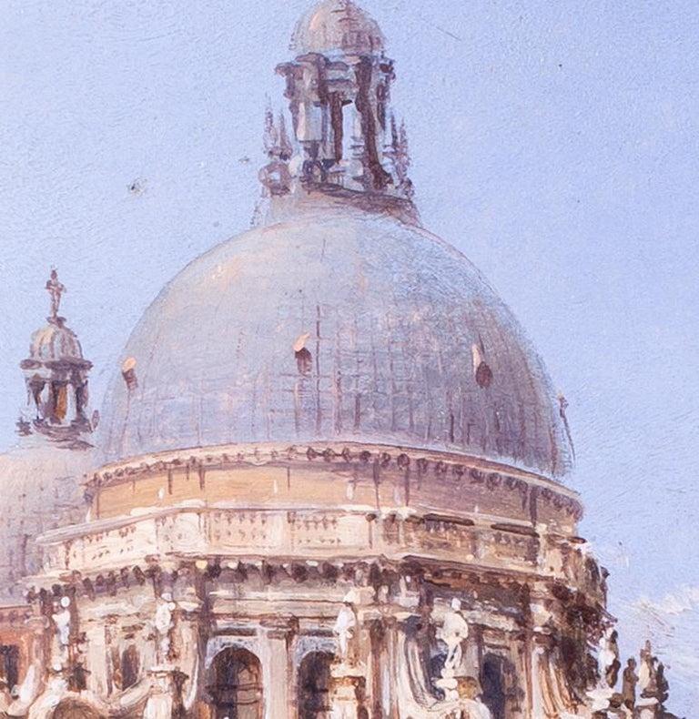 Carlo Grubacs 19th Century oil painting of Santa Maria della Salute, Venice For Sale 3