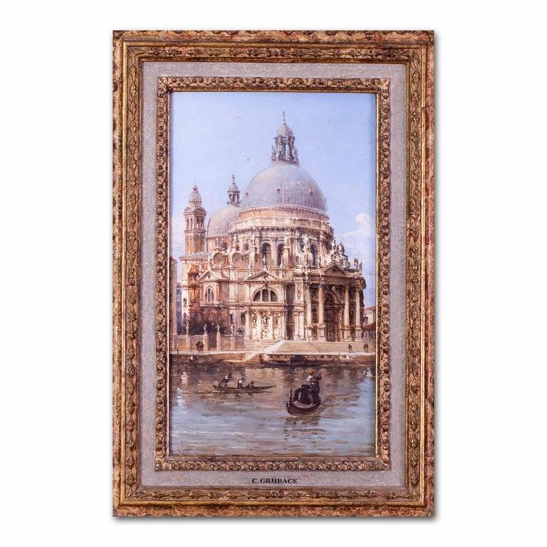 Carlo Grubacs 19th Century oil painting of Santa Maria della Salute, Venice For Sale 5