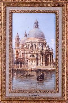 Carlo Grubacs 19th Century oil painting of Santa Maria della Salute, Venice