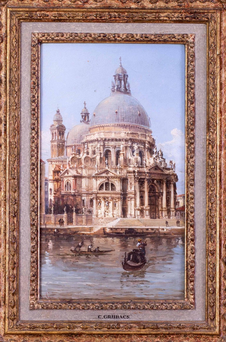 Carlo Grubacs 19th Century oil painting of Santa Maria della Salute, Venice - Painting by Carlo Grubacs