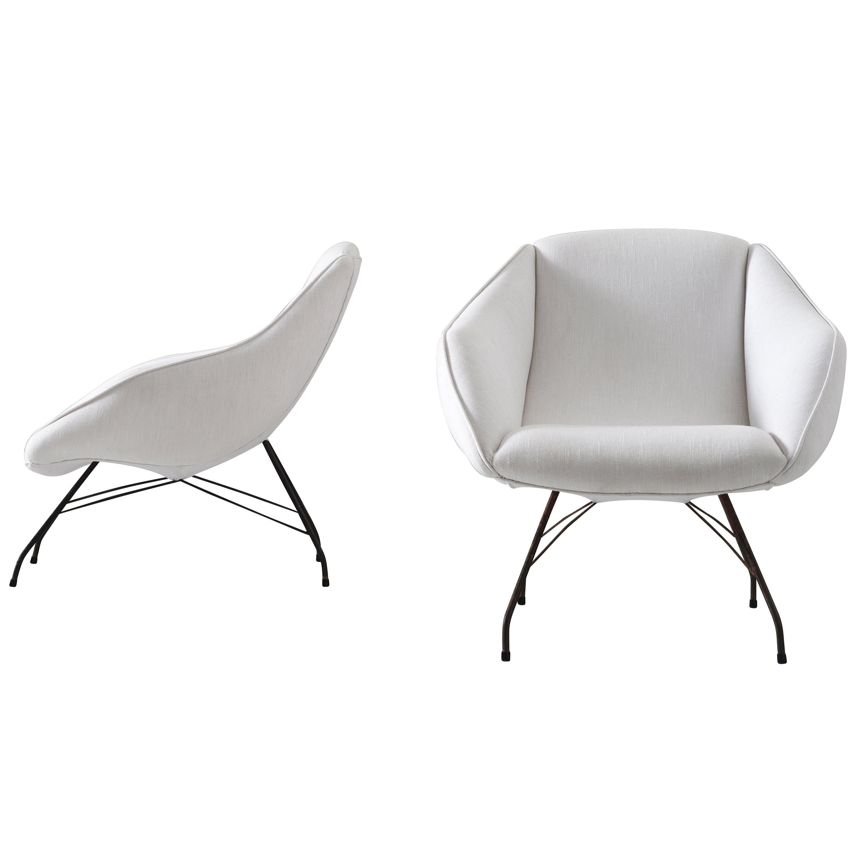 Carlo Hauner and Martin Eisler for Forma Lounge Chairs in White Upholstery