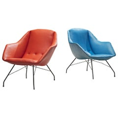 Carlo Hauner and Martin Eisler Lounge Chairs in Blue and Red Upholstery