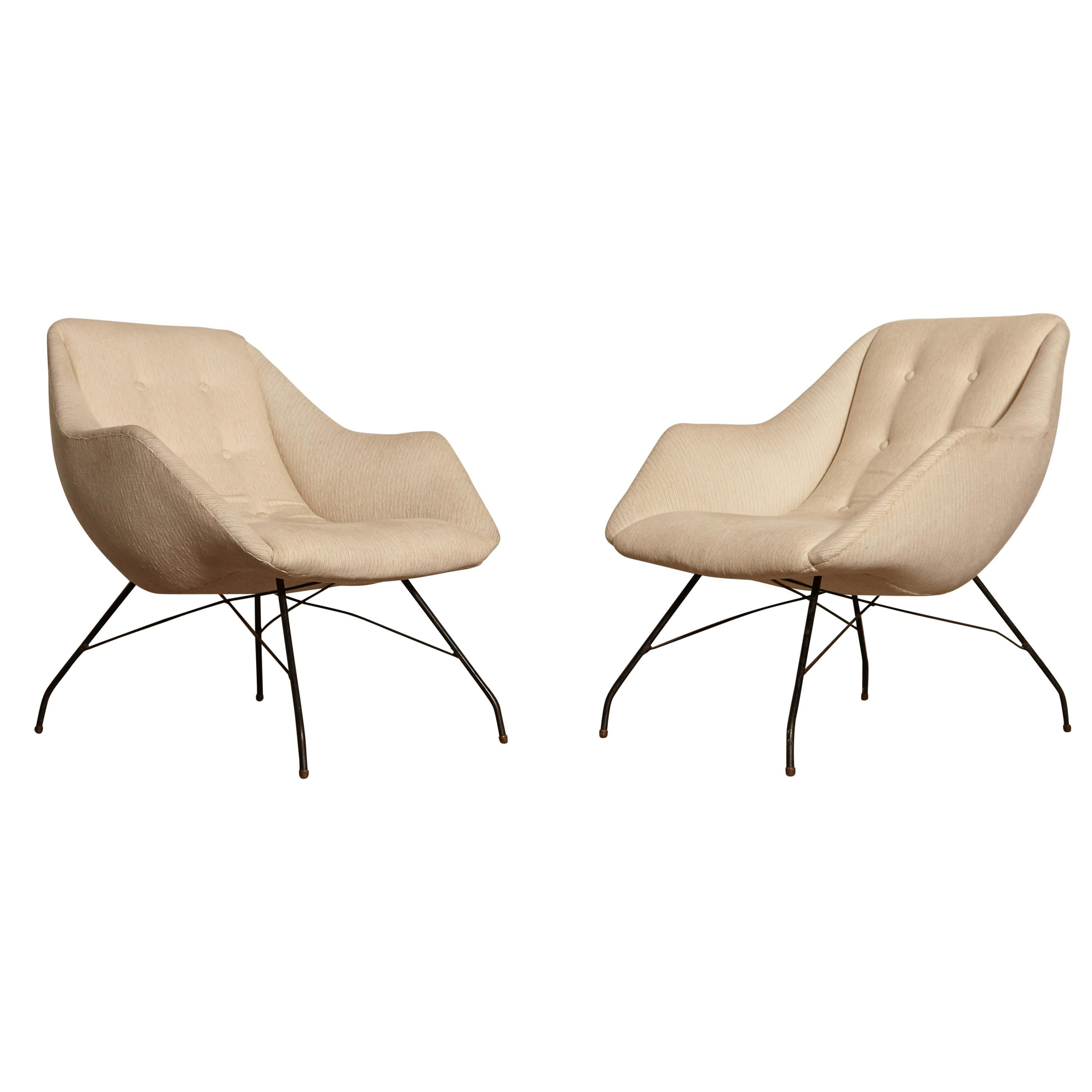 Carlo Hauner and Martin Eisler Shell 'Concha' Lounge Chairs, Forma Brazil, 1950s