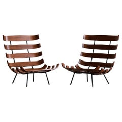 Carlo Hauner and Martin Eisler Wooden Costela Chairs for Forma
