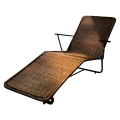 Carlo Hauner. Brazilian Modernist Chaise Longue with Cane Seating