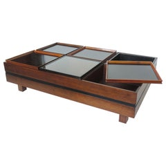 Carlo Hauner Large Coffee Table with Various Compartments for Forma, Italy 1960s