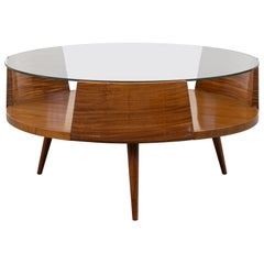 Carlo Hauner & Martin Eisler Coffee Table in Mahogany and Ground Crystal, 1955