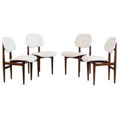 Carlo Hauner & Martin Eisler Set of Four White Fabric Chairs for Forma