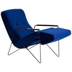 Carlo Hauner Midcentury Long Chair with Jacaranda Arms, Brazil, 1950s