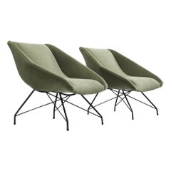 Carlo Hauner Pair of Green Velvet Lounge Chairs, 1960s