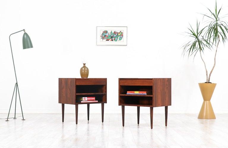 Danish Carlo Jensen Rosewood Nightstands for Hundevad & Co. For Sale