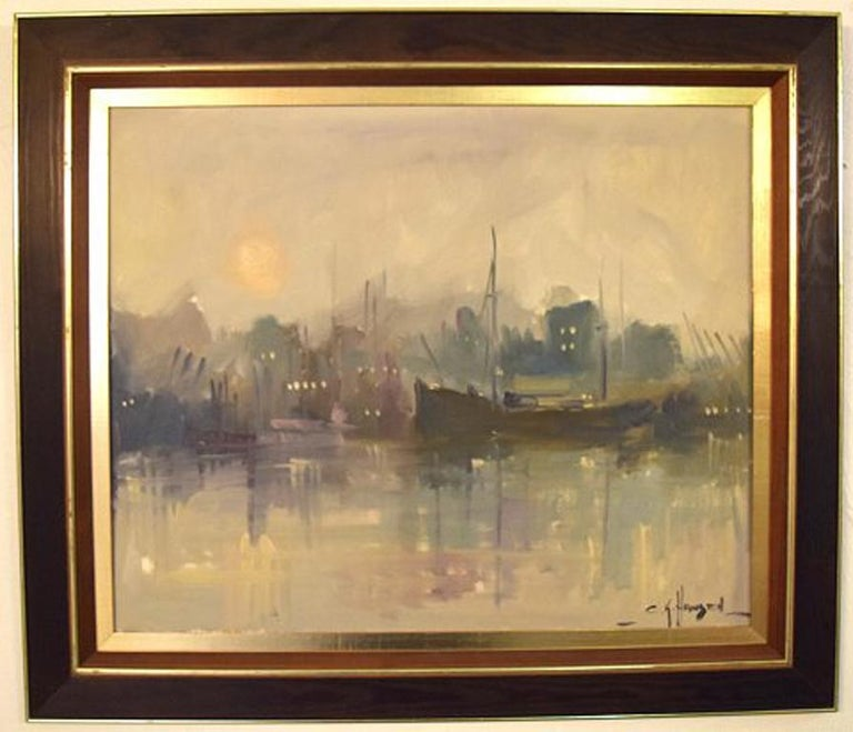 Carlo Knud Hansen. Denmark. Oil on canvas. Harbor scene.