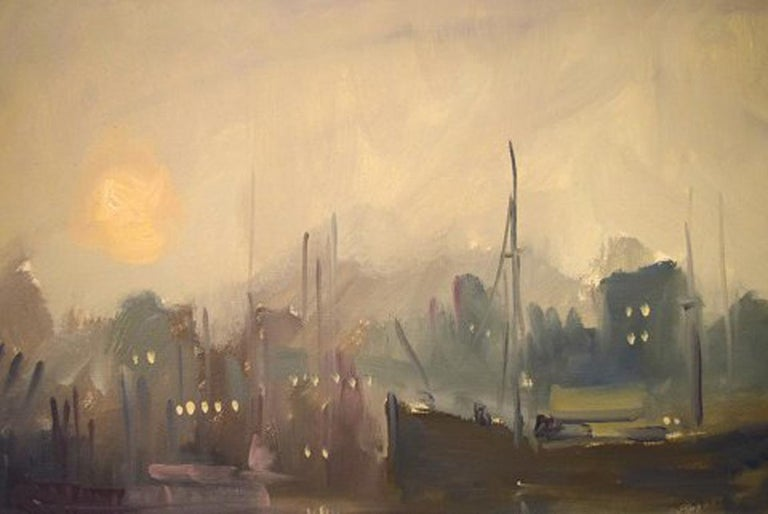 Danish Carlo Knud Hansen, Denmark, Oil on Canvas, Harbor Scene For Sale