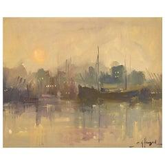 Carlo Knud Hansen, Denmark, Oil on Canvas, Harbor Scene