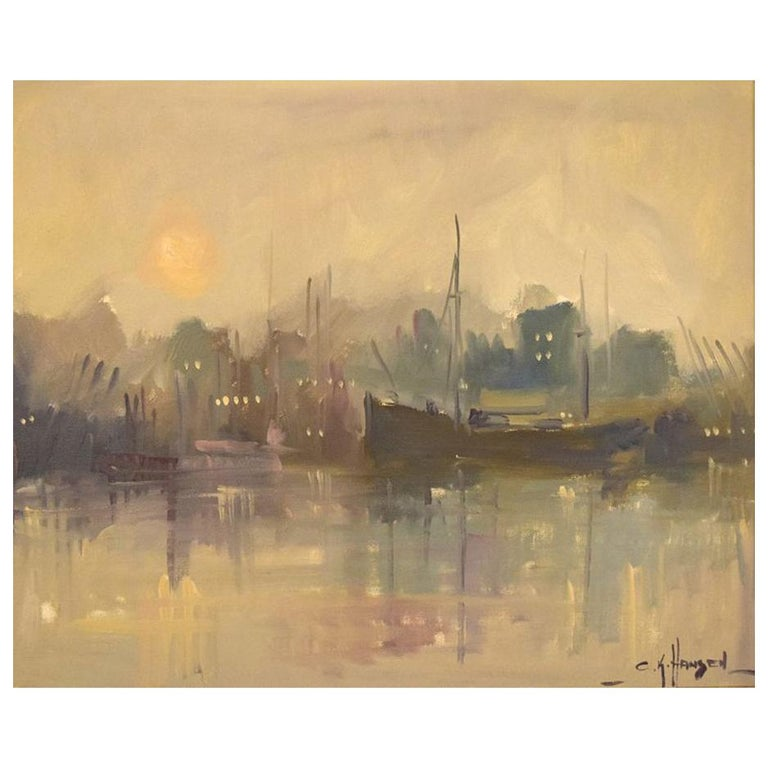 Carlo Knud Hansen, Denmark, Oil on Canvas, Harbor Scene For Sale