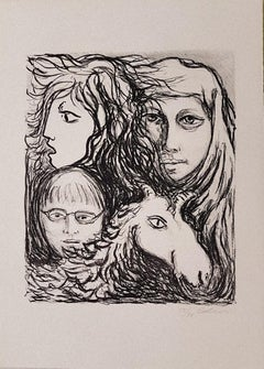 The Motherhood - Original Lithograph by Carlo Levi - 1970s