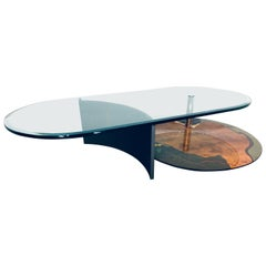 Carlo Malnati Art Coffee Table with Cantilevered Glass Top