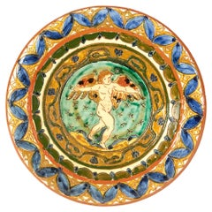 Carlo Manzoni Coleorton Art Pottery Cherub Plaque 1897