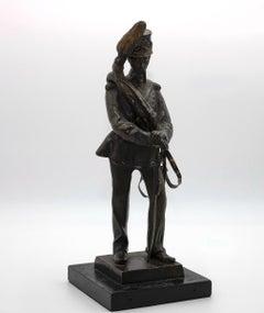 Italian Soldier - Original Bronze Sculpture by Carlo Marochetti - 19th Century