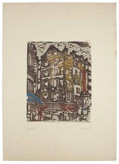 Houses - Original Woodcut by Carlo Mazzoni - 1977