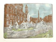 Navona Square - Original Screen Print by Carlo Mazzoni - Late 20th Century