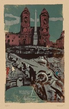 Trinità dei Monti - Original Screen Print by Carlo Mazzoni - Late 20th Century
