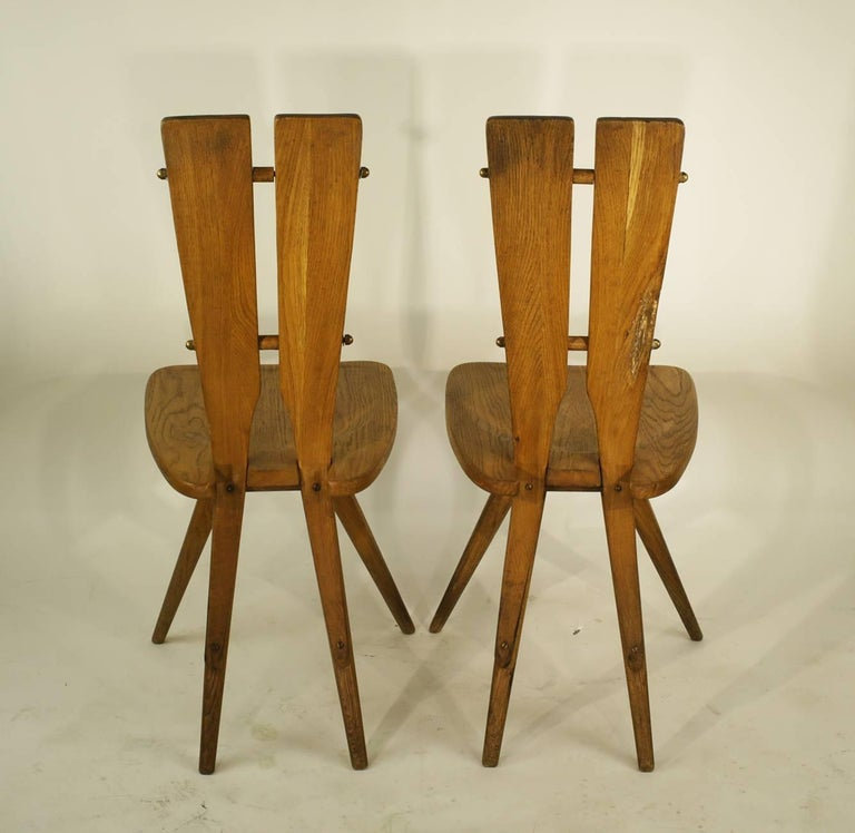 Mid-Century Modern Pair of Side Chairs in the Manner of the Carlo Mollino Casa del Sole Chairs For Sale