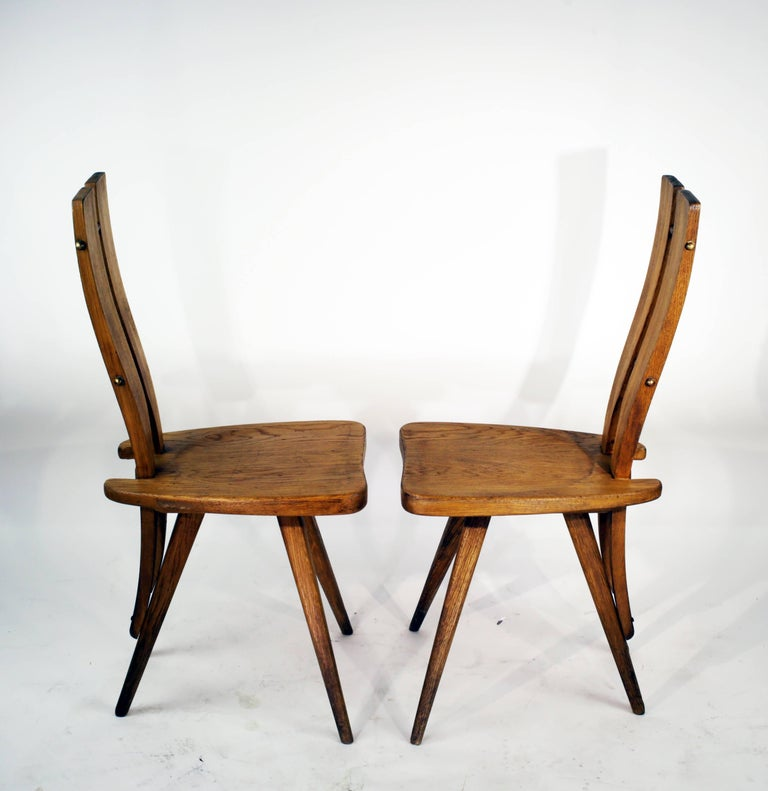 Italian Pair of Side Chairs in the Manner of the Carlo Mollino Casa del Sole Chairs For Sale