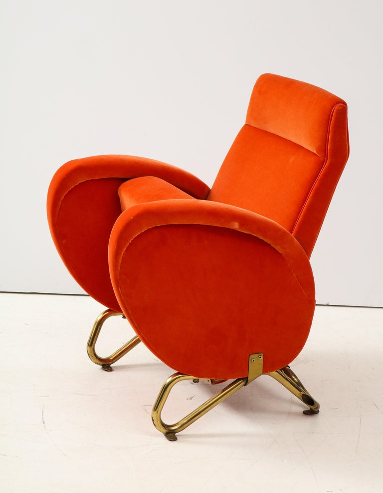 Carlo Mollino, Brass and Velvet Armchair from the RAI Auditorium, Italy, c. 1951 For Sale 4