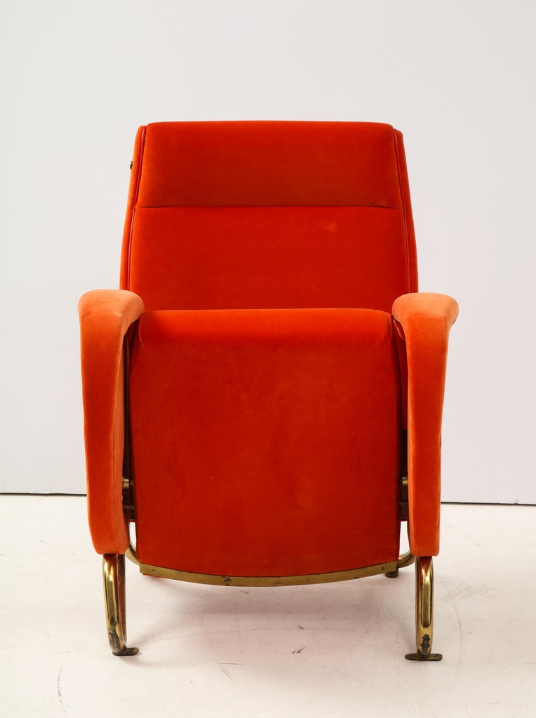 Carlo Mollino, Brass and Velvet Armchair from the RAI Auditorium, Italy, c. 1951 For Sale 5