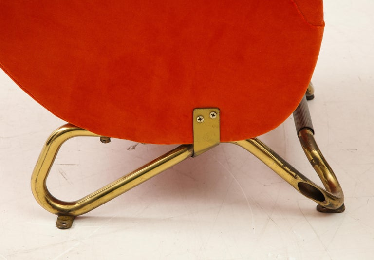 Carlo Mollino, Brass and Velvet Armchair from the RAI Auditorium, Italy, c. 1951 For Sale 6
