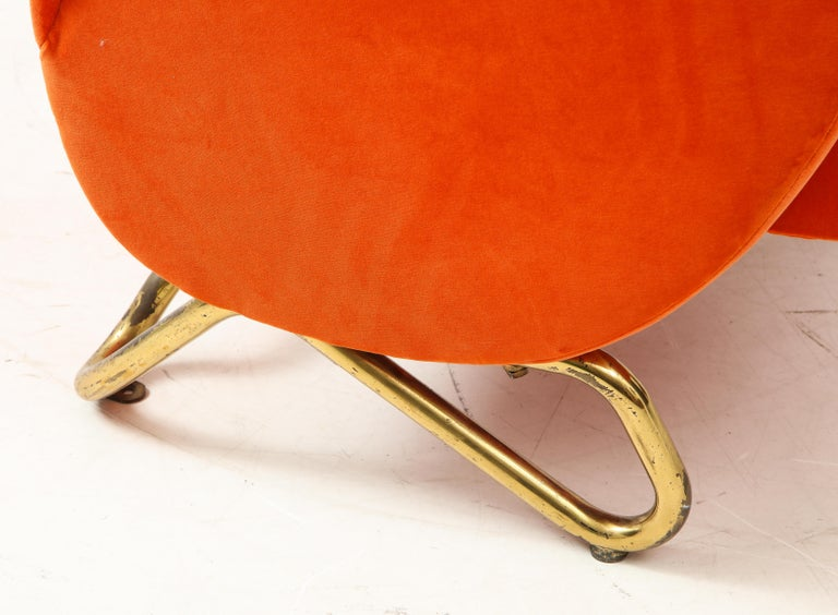 Carlo Mollino, Brass and Velvet Armchair from the RAI Auditorium, Italy, c. 1951 For Sale 7