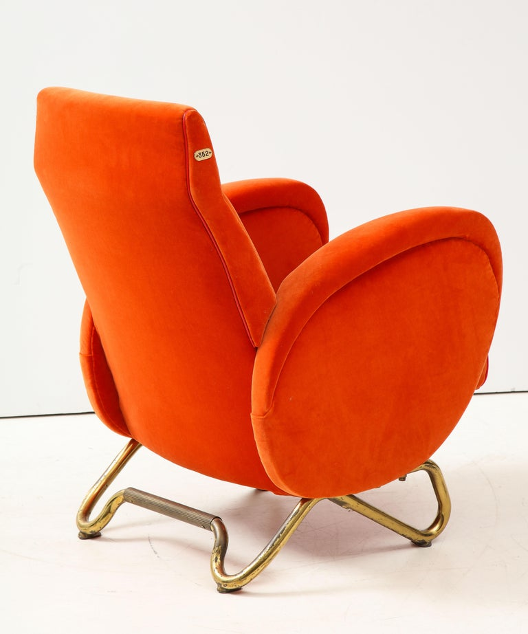 Carlo Mollino, Brass and Velvet Armchair from the RAI Auditorium, Italy, c. 1951 In Good Condition For Sale In New York City, NY