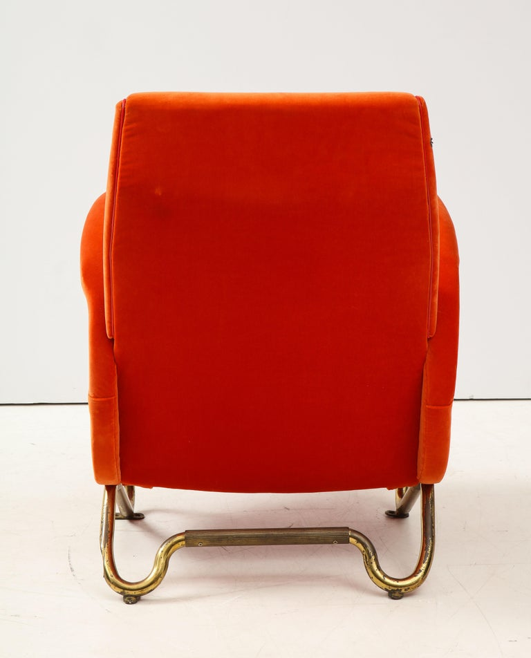 Mid-20th Century Carlo Mollino, Brass and Velvet Armchair from the RAI Auditorium, Italy, c. 1951 For Sale