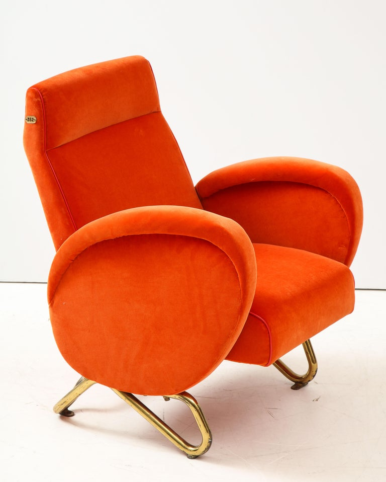 Carlo Mollino, Brass and Velvet Armchair from the RAI Auditorium, Italy, c. 1951 For Sale 9