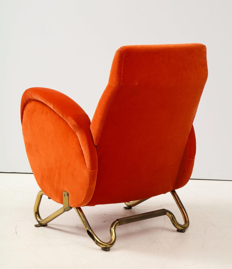 Carlo Mollino, Brass and Velvet Armchair from the RAI Auditorium, Italy, c. 1951 For Sale 1
