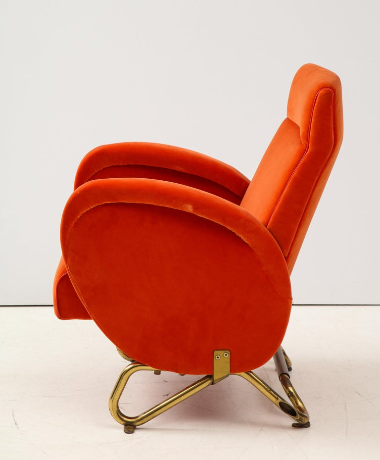 Carlo Mollino, Brass and Velvet Armchair from the RAI Auditorium, Italy, c. 1951 For Sale 2