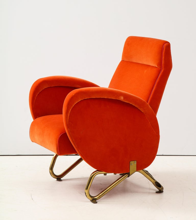 Carlo Mollino, Brass and Velvet Armchair from the RAI Auditorium, Italy, c. 1951 For Sale 3