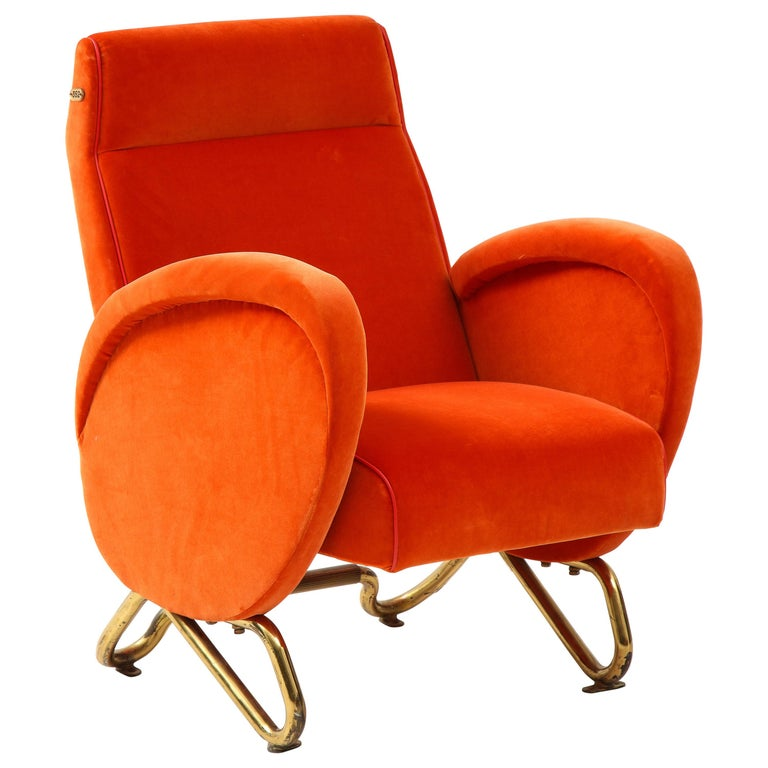 Carlo Mollino, Brass and Velvet Armchair from the RAI Auditorium, Italy, c. 1951 For Sale
