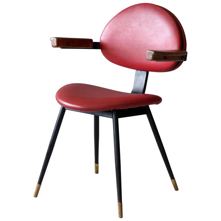 """Carlo Mollino, """"Lutrario"""" Armchair, Painted Iron, Oak, Resinflex, Italy, 1960s For Sale"""