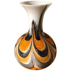Carlo Moretti für Opal Florence Orange und Graue Muranoglas Vase, circa 1970