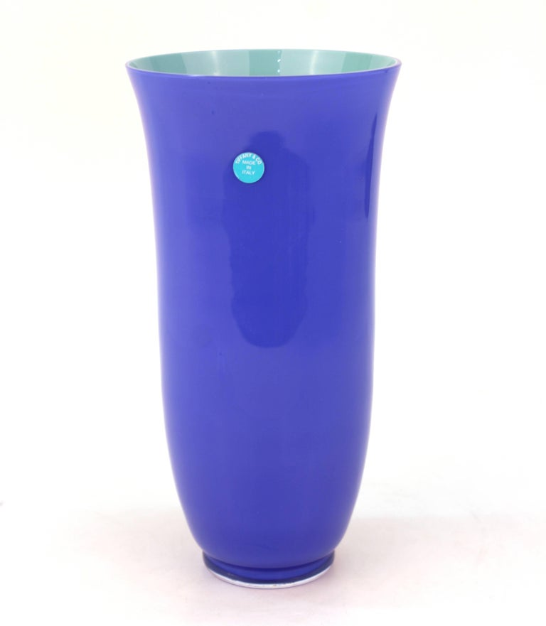 Carlo Moretti For Tiffany And Co Vase In Violet Blue And Aqua With