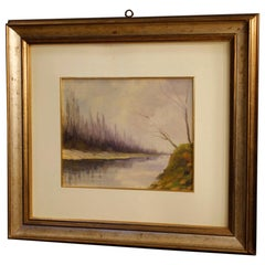 Carlo Musso 20th Century Oil on Panel Italian Signed Landscape Painting, 1950