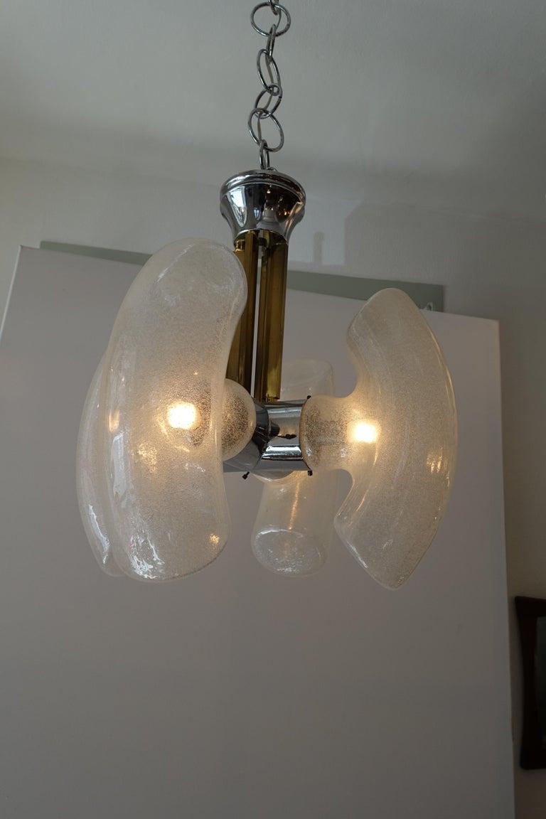 Late 20th Century Carlo Nason Brass and Blown Murano Glass Pendant Light for Mazzega, 1970s For Sale