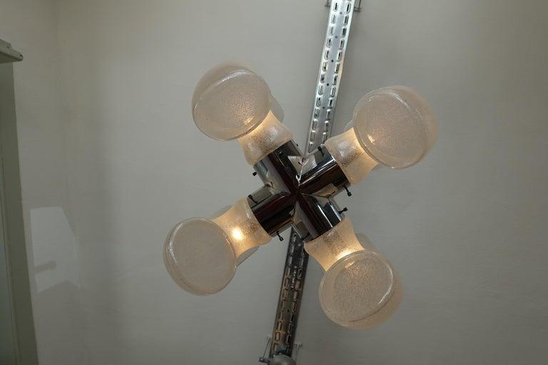 Carlo Nason Brass and Blown Murano Glass Pendant Light for Mazzega, 1970s For Sale 1