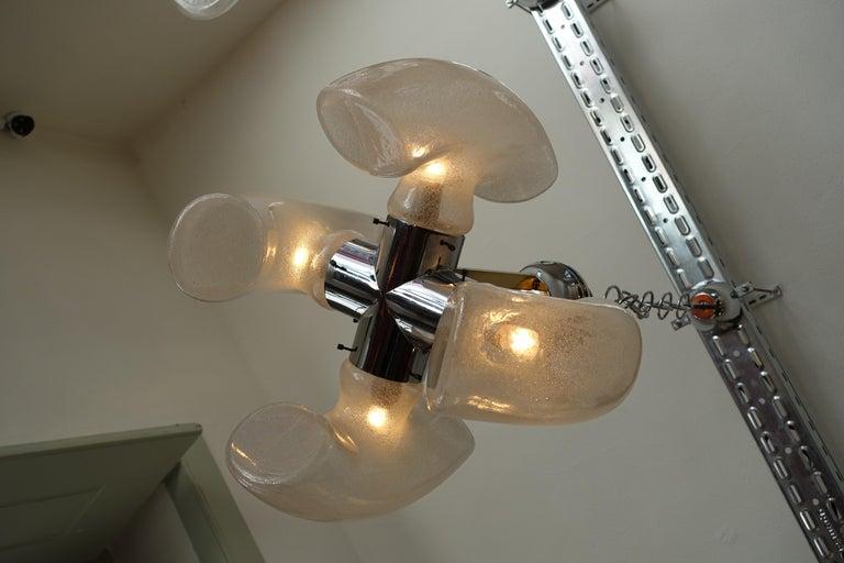 Carlo Nason Brass and Blown Murano Glass Pendant Light for Mazzega, 1970s For Sale 2