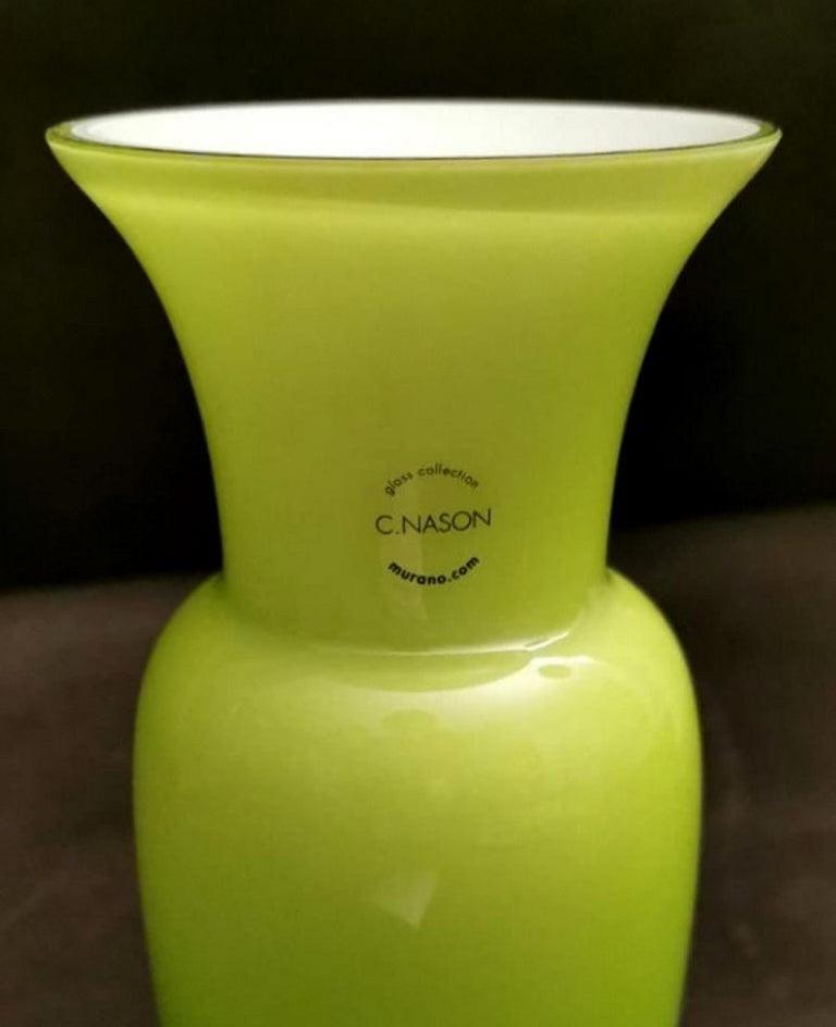 Modern Carlo Nason Design Vase Blown and Jacketed Murano Glass